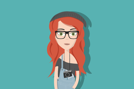 Hipster cartoon character. Woman with read hair, glasses and an instant camera. Flat vector illustration.
