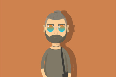 Hipster cartoon character. Man with beard and mirror glasses. Flat vector illustration. Stock Illustratie