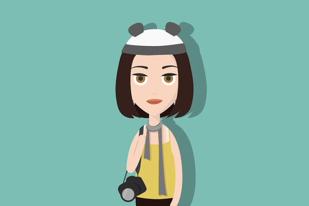 Hipster cartoon character. Woman carrying a professional photography camera. Flat vector illustration. Stock Illustratie
