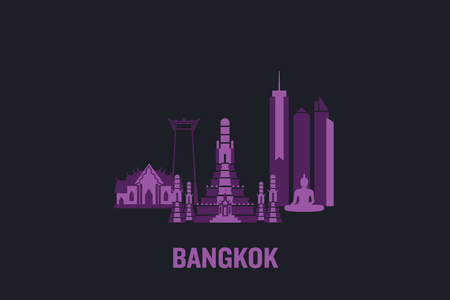 Skyline illustration of Bangkok. Flat vector design.