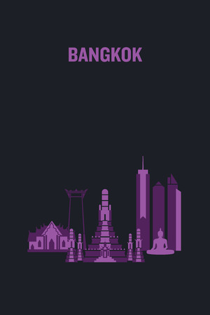 Illustration made with icons of most important buildings in Bangkok. Flat vector design. Illustration