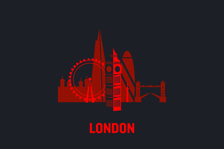 Skyline illustration of London. Flat vector design.