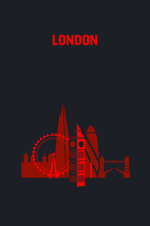 Illustration made with icons of most important buildings in London. Flat vector design.