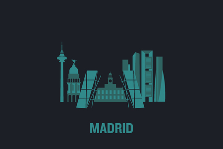 Skyline illustration of Madrid. Flat vector design. Çizim