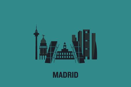 Minimalist illustration of Madrid main buildings. Flat vector design.