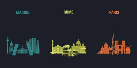 Skyline illustration of three European cities, Madrid, Rome and Paris. Flat vector design. Ilustração