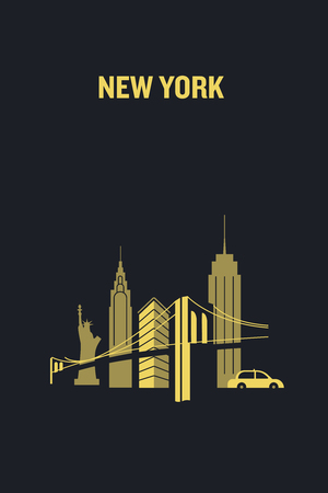 New York City iconic buildings. Flat vector illustration.