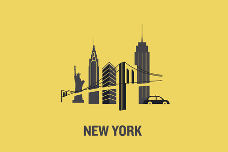 New York city. Minimalist flat vector illustration. Vettoriali