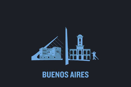 Skyline illustration of Buenos Aires. Flat vector design.