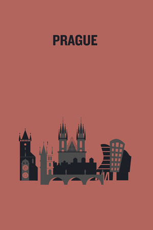 Prague art design concept. Flat vector illustration.