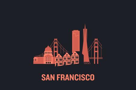Skyline illustration of San Francisco. Flat vector design.