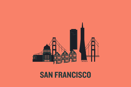 Minimalist illustration of San Francisco main buildings. Flat vector design.