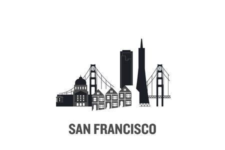 San Francisco art design concept. Flat vector illustration.