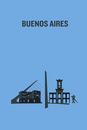 Illustration made with icons of most important buildings in Buenos Aires. Flat vector design.
