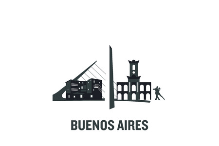 Minimalist illustration of Buenos Aires main buildings. Flat vector design.  イラスト・ベクター素材