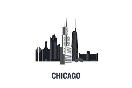 Chicago art design concept. Flat vector illustration.
