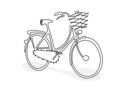 Illustration bicycle doodle style Ilustração