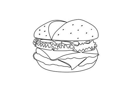 Illustration burger. Continuous line illustration. Ilustração