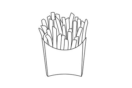 Potato fries Illustration. Sketched up illustration.