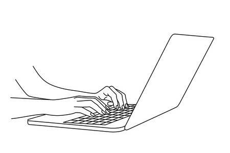 Illustration woman hands typing on a laptop