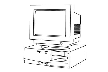 Illustration old computer and monitor. Ilustração