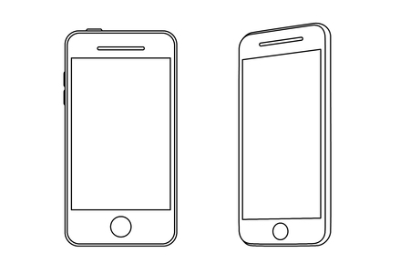 Illustration smartphone. Front and side view.