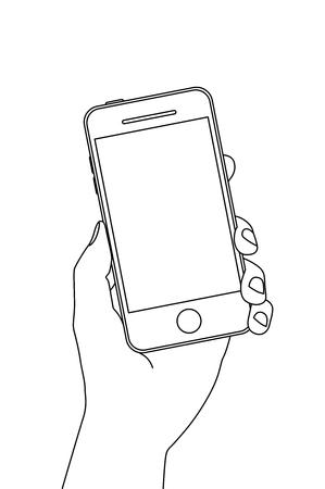 Illustration hand holding a smartphone.