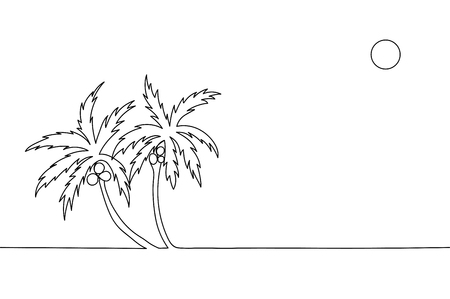 Illustration palm trees with coconuts.