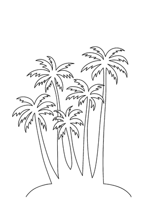 Illustration a bunch of palm trees.