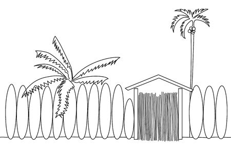 illustration of a surf school with palm trees on the beach.