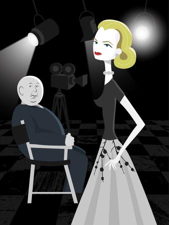 Main actress and director in a classic film. Ilustração