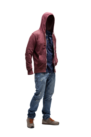 Empty clothes. Red hoodie, jeans and brown trainers.