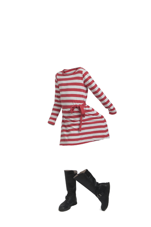 Empty clothes. Cute girl waring a striped dress and boots.