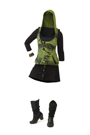 Empty clothes. Woman in casual clothes with green hoddie, black skirt and black boots.