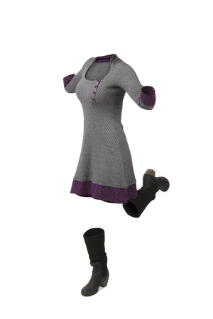 Empty clothes. Woman jumping wearing a gray and purple dress and high boots. Imagens