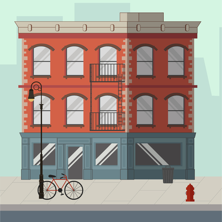 Red apartment building with a shop in the ground floor. Flat vector illustration. Ilustração