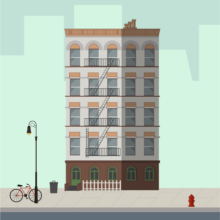 High-rise building white and brown. Flat vector illustration.