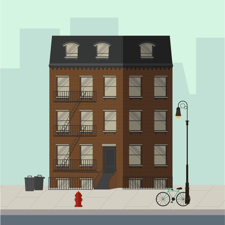 Brown apartment building with stairs to the main door. Flat vector illustration.