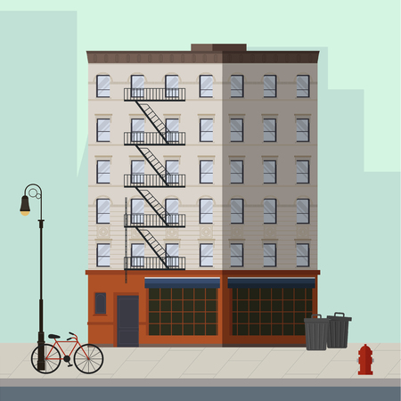 High-rise apartment with bar on the ground floor. Flat vector illustration.