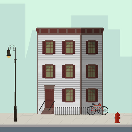 Small apartment building with stairs to the main door. Flat vector illustration.