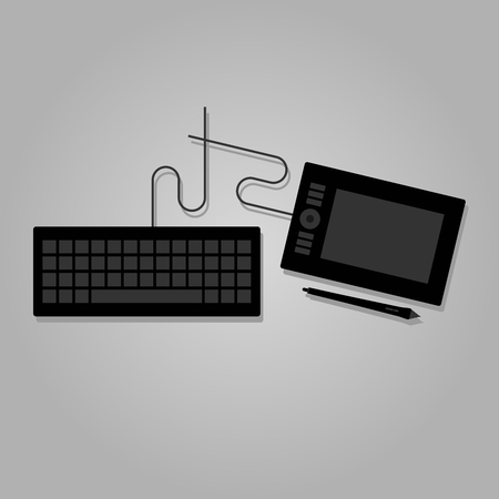 Graphic tablet and keyboard with wire cable. Flat vector illustration.