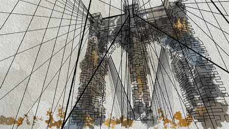 style illustration of the Brooklyn Bridge in New York. Down view.