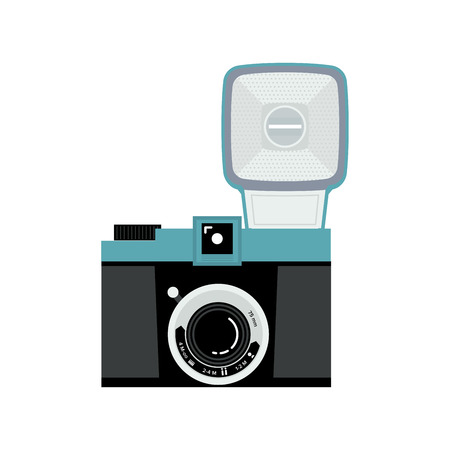 Blue and black analog film camera icon. Flat vector illustration. Front view.