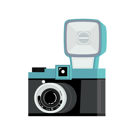 Blue and black analog film camera with flash. Flat vector illustration. Side view. Ilustracja