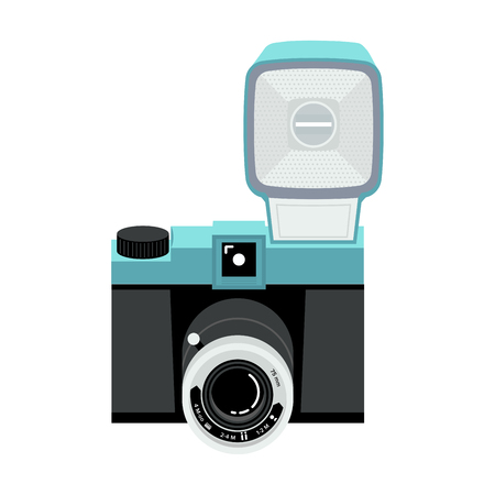Blue and black analog plastic camera with flash. Flat vector illustration. Top view.