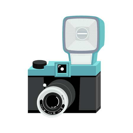 Blue and black analog film camera with big flash. Flat vector illustration. Isometric perspective.