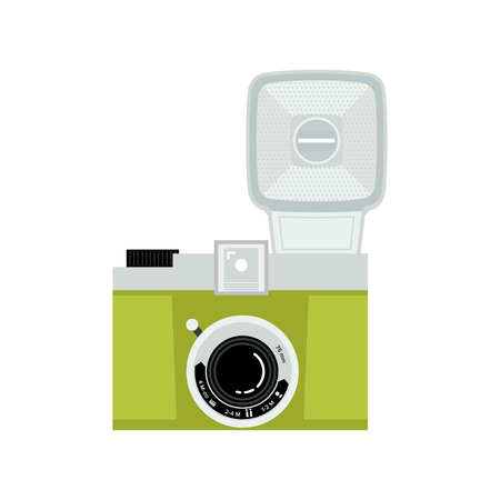 Green and silver analog film camera icon. Flat vector illustration. Front view.