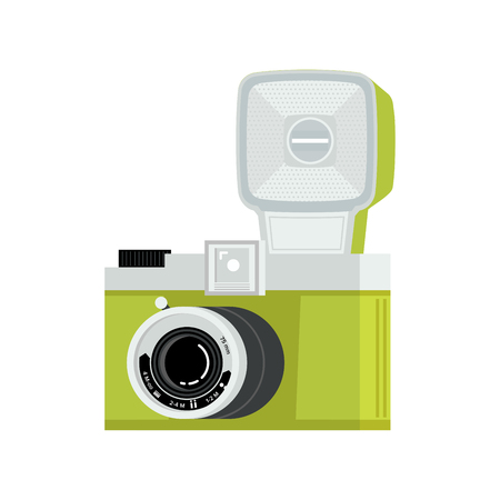 Green and silver analog film camera with flash. Flat vector illustration. Side view. Ilustração
