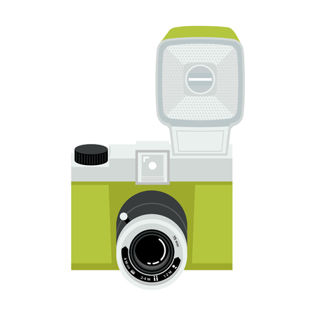 Green and silver analog plastic camera with flash. Flat vector illustration. Up view.