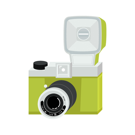 Green and silver analog film camera with big flash. Flat vector illustration. Isometric perspective.